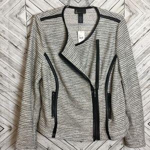 Gray Asymmetric Zip Leather Trimmed Moto Jacket